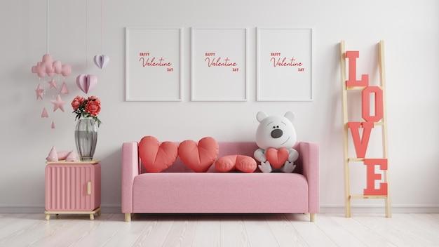 モックアップポスターフレームバレンタインルームモダンなインテリアには、バレンタインデーのためのソファと家の装飾があり、3dレンダリング