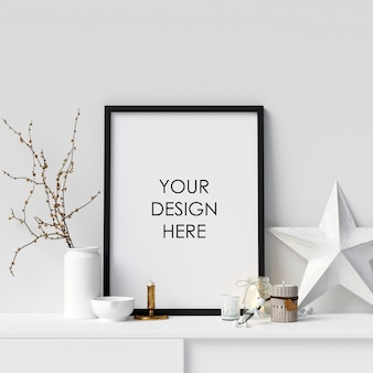 Mock up poster frame with christmas decoration
