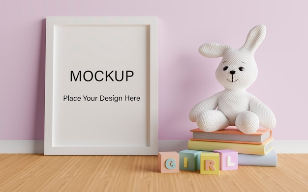 Mock up poster frame with cute rabbit for a girl baby shower 3d rendering