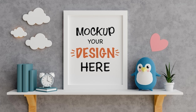 Mock up poster frame with cute teddy bear for a baby shower 3d rendering