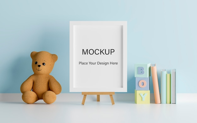 Mock up poster frame with cute teddy bear for a boy baby shower 3d rendering