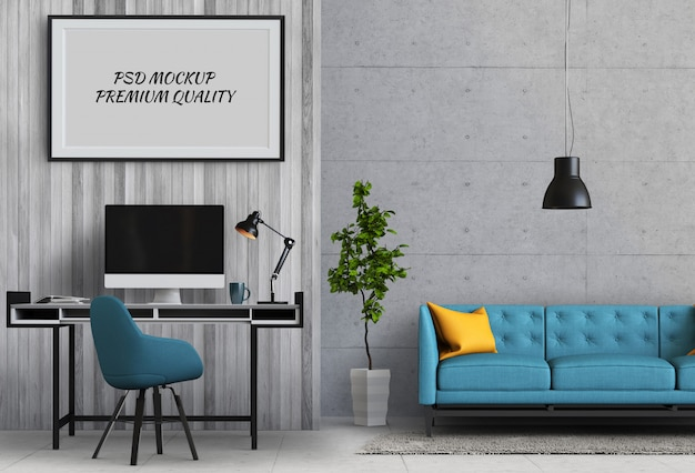 Mock up poster frame in working room and sofa, 3d render
