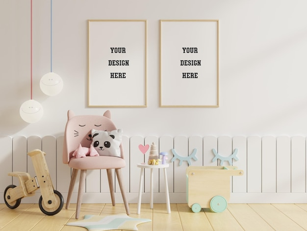 Mock up poster frames in children room