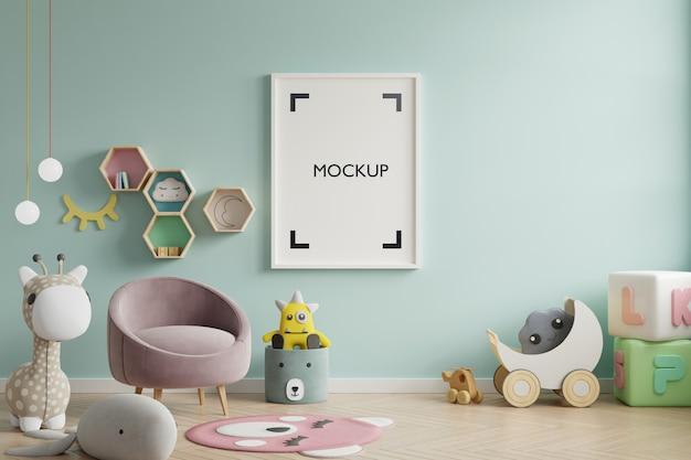 子供部屋のポスターのモックアップ