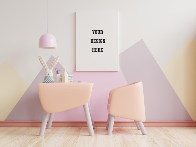 빈 파스텔 색상 벽에 파스텔 색상의 어린이 침실에서 포스터를 모의