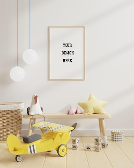 Mock up poster in kids room on white wall