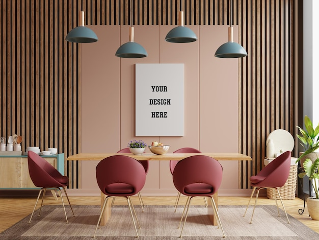 Mock up poster in modern dining room interior design with brown empty wall. 3d rendering
