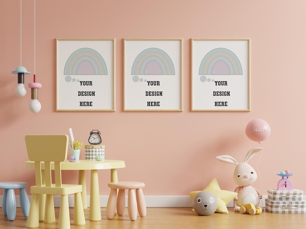 Mock up posters in child room interior, posters on empty pink color wall background,3d rendering