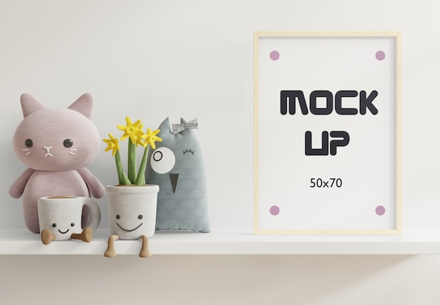 Mock up posters in child room interior, posters on white shelf 3d rendering