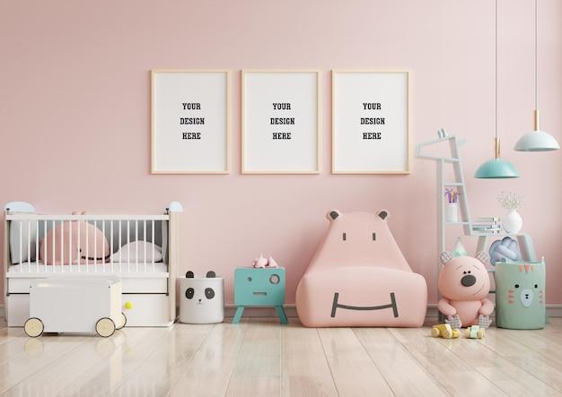 Mock up posters in children's room interior
