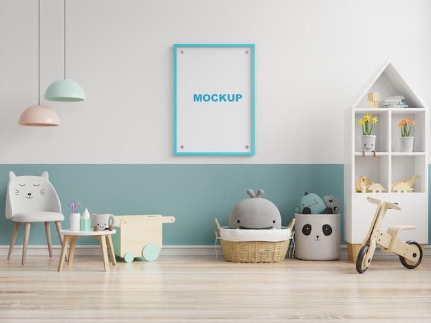 子供部屋のインテリアのポスター、空の白い壁のポスター、3dレンダリングのモックアップ