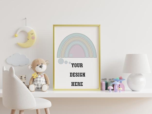 아이 방 인테리어, 빈 흰색 벽 배경, 3d 렌더링에 포스터를 모의