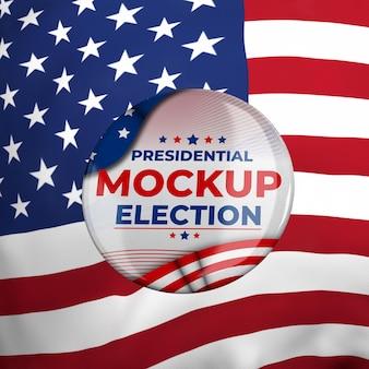 미국 국기와 함께 미국의 모형 대통령 선거 휘장