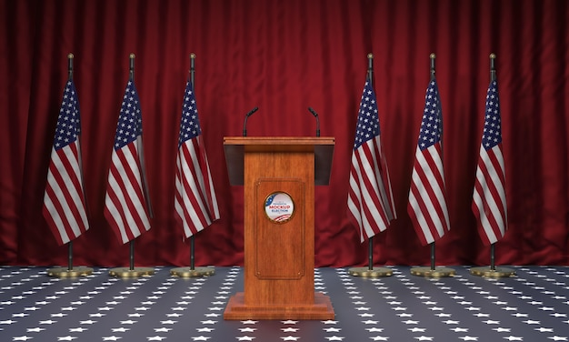 Mock-up presidential election podium for united states with flags