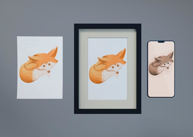 Mock-up and sheet with fox draw