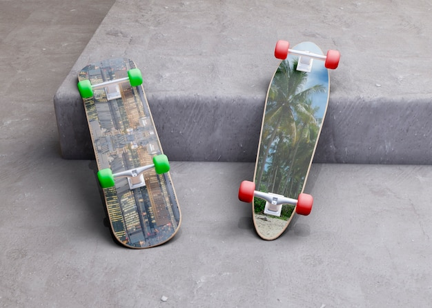 Mock-up skateboards laying on the step