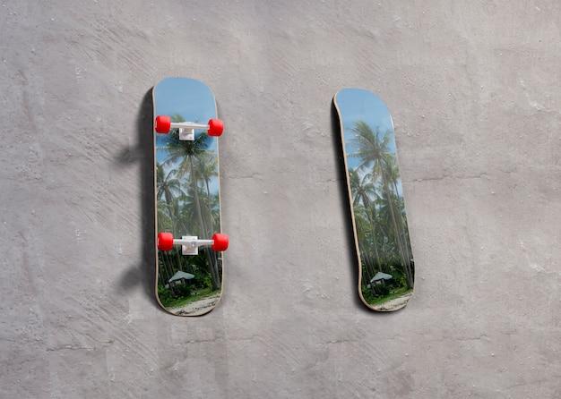 Mock-up skateboards with tropical design