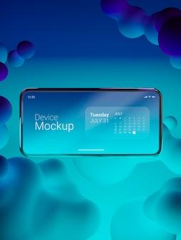 液体の動的要素を使用したスマートフォンのモックアップ構成