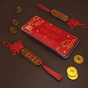 Mock-up smartphone and ornaments for new year