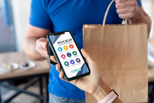 モックアップスマートフォン決済アプリ画面