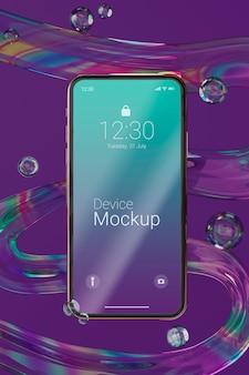 液体の動的要素を備えたモックアップスマートフォン