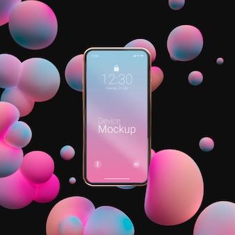液体要素を使ったスマートフォンのモックアップ