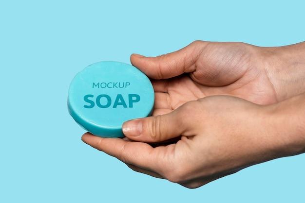 Mock up di sapone per lavarsi le mani