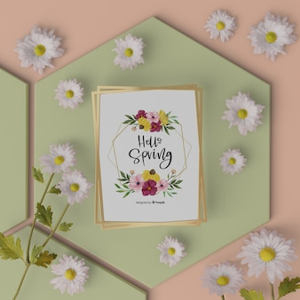 Mock-up spring card on table with 3d flowers