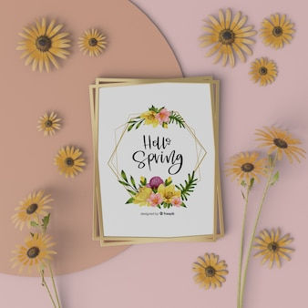 Mock-up spring card with 3d flowers