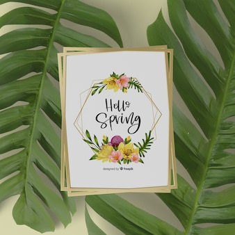 Mock-up spring card with 3d leaves around