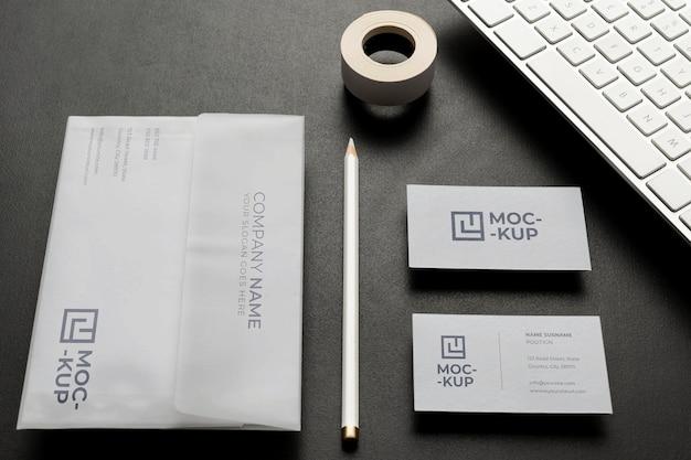 Mock-up stationery on wood arrangement