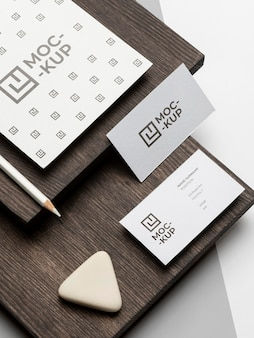 Mock-up stationery on wood composition
