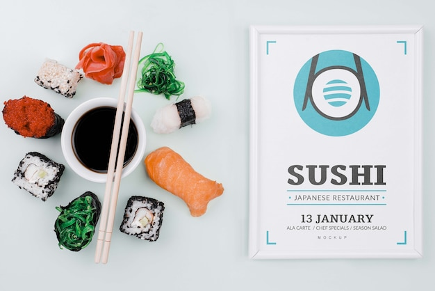 Mock-up sushi rolls with soya sauce and frame