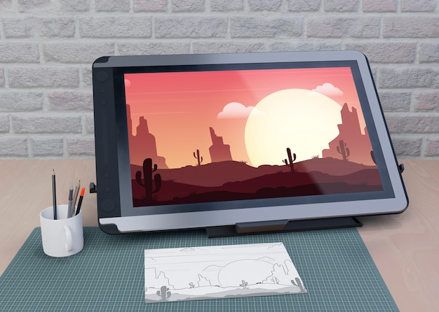 Mock-up tablet drawing on table