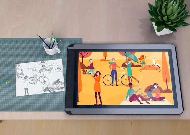芸術的な絵画が飾られたモックアップタブレット