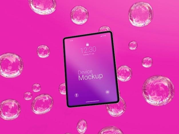抽象的な液体とモックアップタブレット