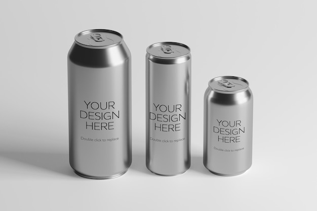 Mock up view of a metal can 3d rendering