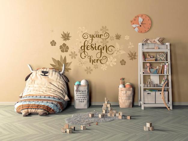 Mock up wall in children room interior background, 3d render