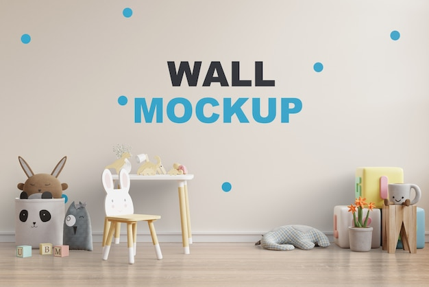 Mock up wall nella stanza dei bambini rendering 3d