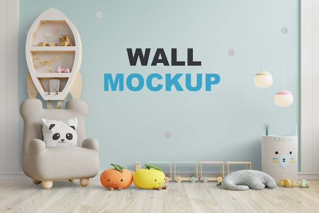 Mock up wall in the children's room in blue color wall  .3d rendering