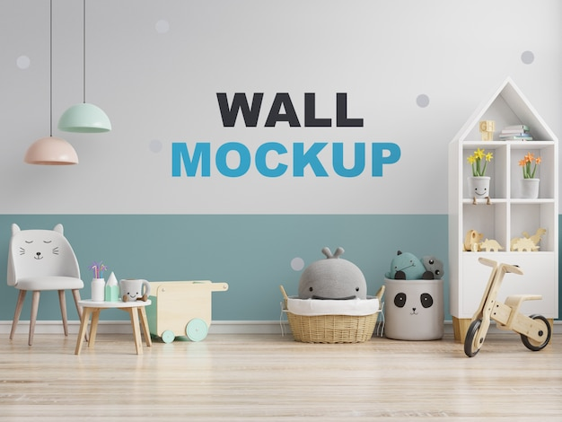 Mock up wall in the children's room in white on blue wall. 3d rendering
