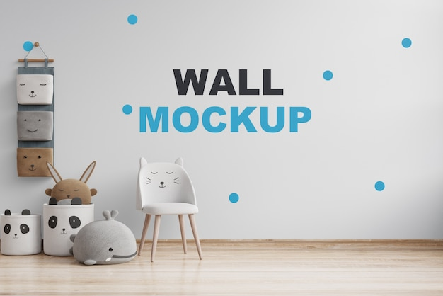 Mock up wall in the children's room on white wall. 3d rendering