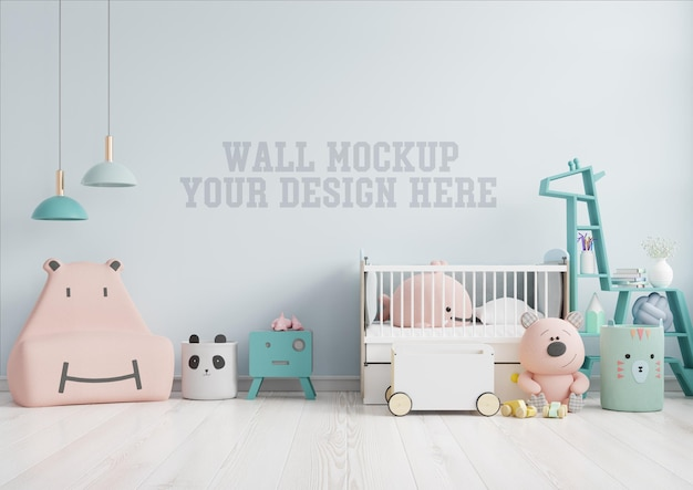 Mock up wall in the children's room with pink sofa in light blue color wall,3d rendering