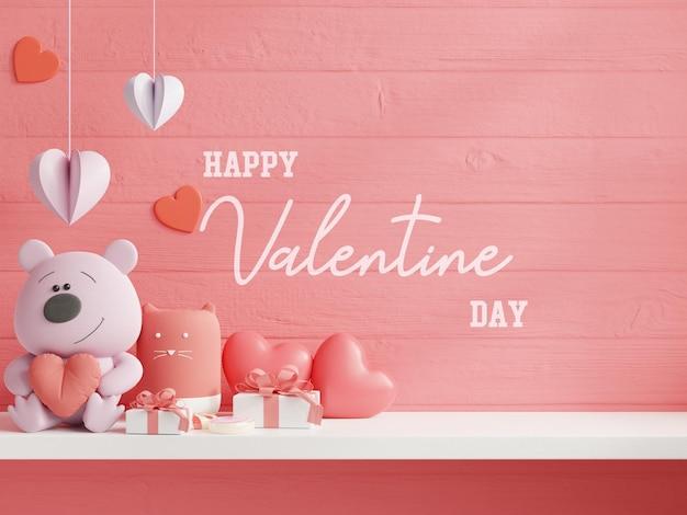 バレンタインデーの壁をモックアップ