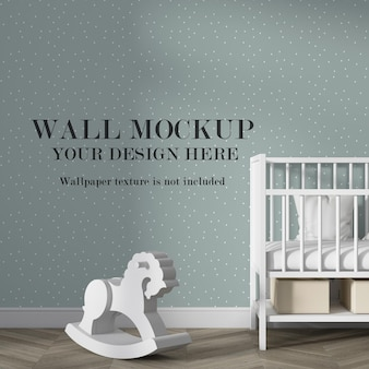 Макет стены в интерьере детской комнаты с минималистской мебелью
