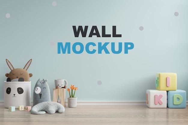 子供部屋の3 dレンダリングで壁のモックアップ