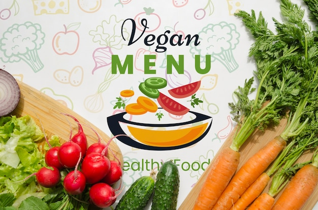 Mock-up with healthy and fresh vegetables