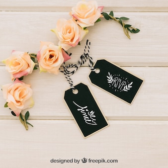 Mock up with labels and floral ornaments