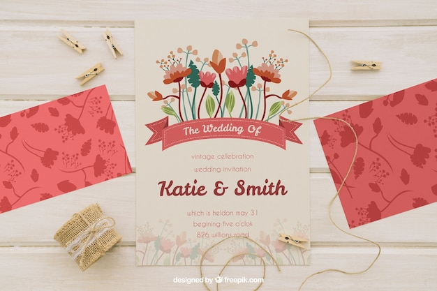 Mock up with wedding invitation, cord and clothespins