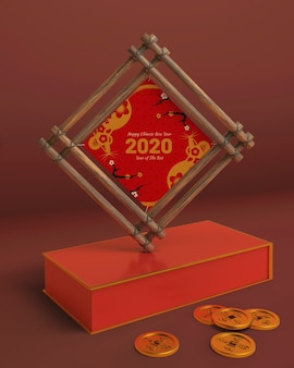 Mock-up wooden frame with new year date